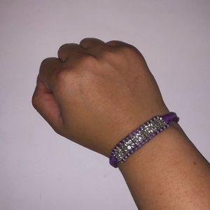 Jewelry: Purple Braided Bracelet with Rhinestones